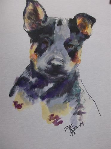 AUSTRALIAN CATTLE DOG Contemporary Watercolor ART Print by Artist DJR