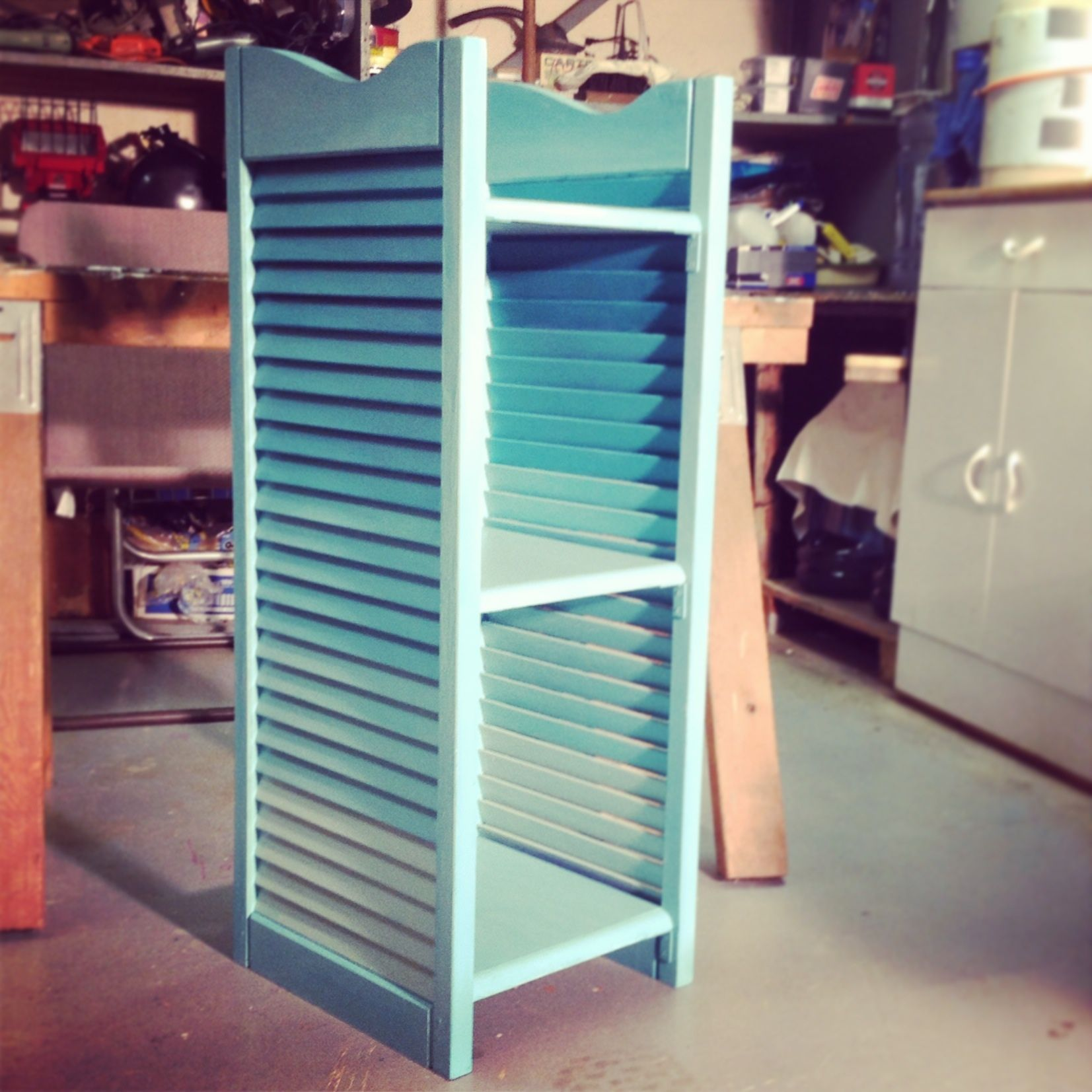 Teal Shutters: Teal Ombre Shelf Made Out Of Shutters!