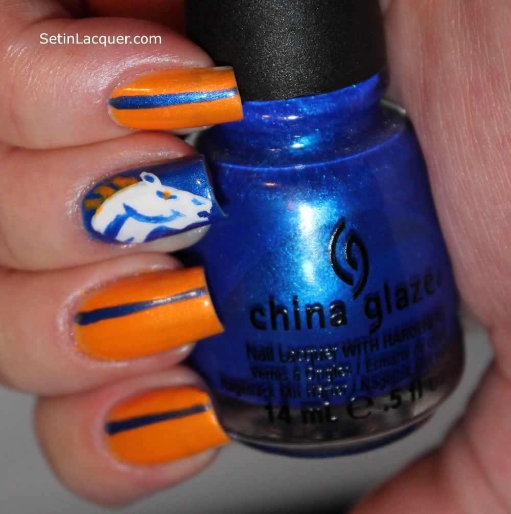 Denver Broncos Nail Art, I would probably never do this but its ...