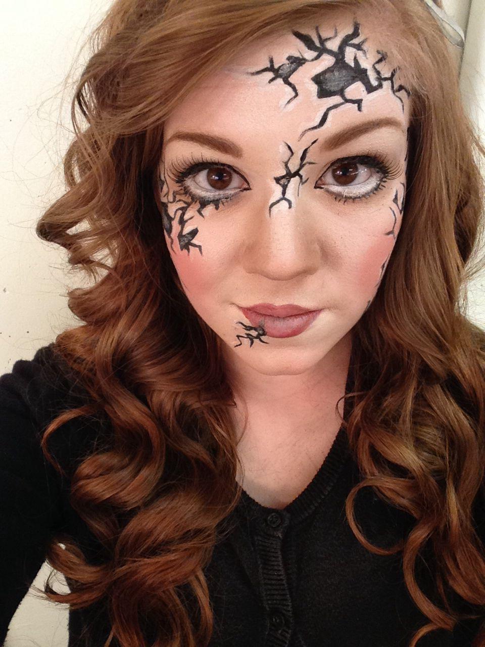 makeup: horror | cracked porcelain doll | halloween | pinterest