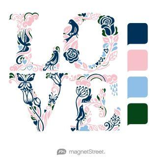 wedding palate using navy blue, pink, light blue and dark green