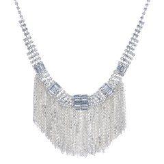 Diamante crystal chain tassel drop necklace
