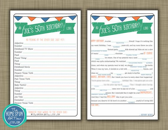 Adult Birthday Mad Libs - Personalized Party Game - DIY Printable & Custom - Men Women