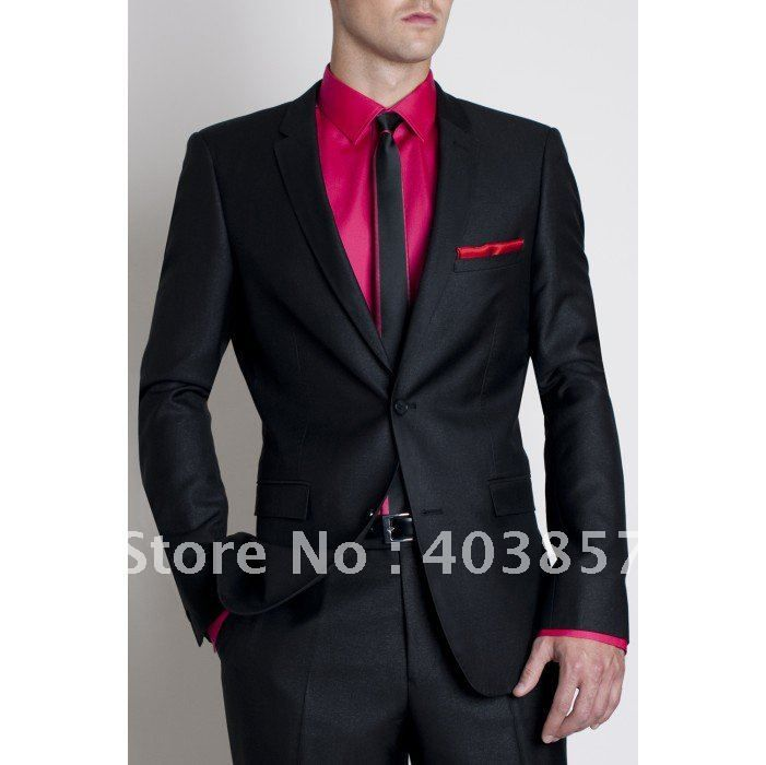men black pink formal outfit | Wholesale - Black Groom Tuxedos ...