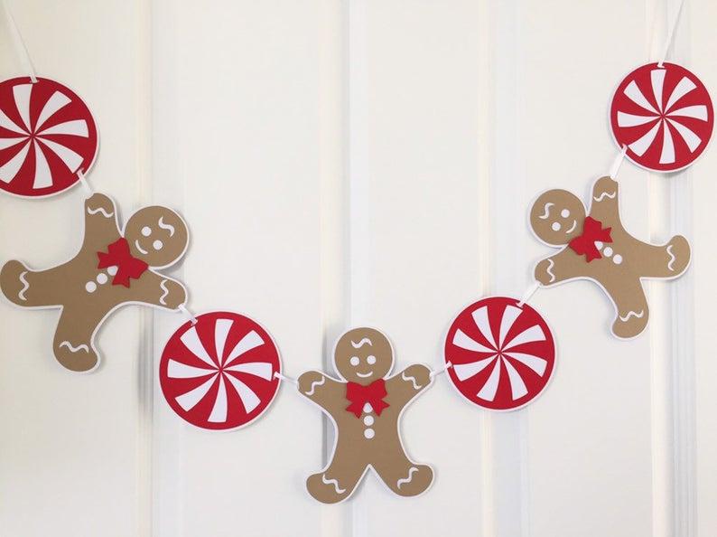 Christmas Gingerbread Man Garland Peppermint Candy Etsy Christmas Gingerbread Men Christmas Gingerbread Gingerbread Crafts