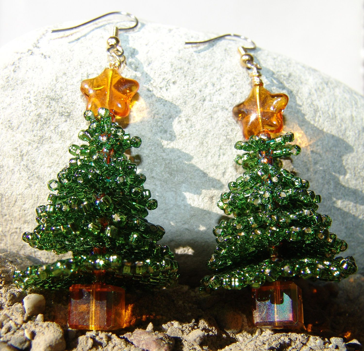 Christmas Tree Earrings Beaded Brick Stitch $1995, Via Etsy