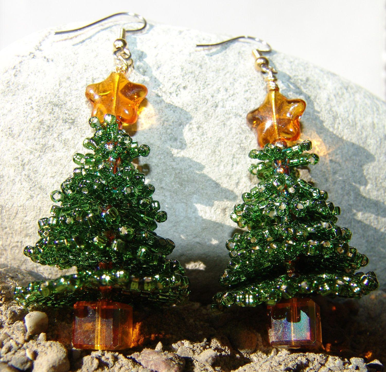 Christmas Tree Earrings Beaded Brick Stitch $1995, Via Etsy
