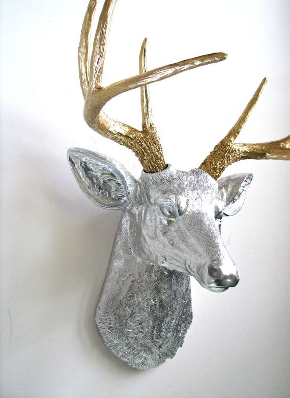 Great Faux Taxidermy Deer Head Wall Mount Wall Hanging Wall Decor In Silver With  Gold Antlers Kids Room Decor Nursery Office Stag