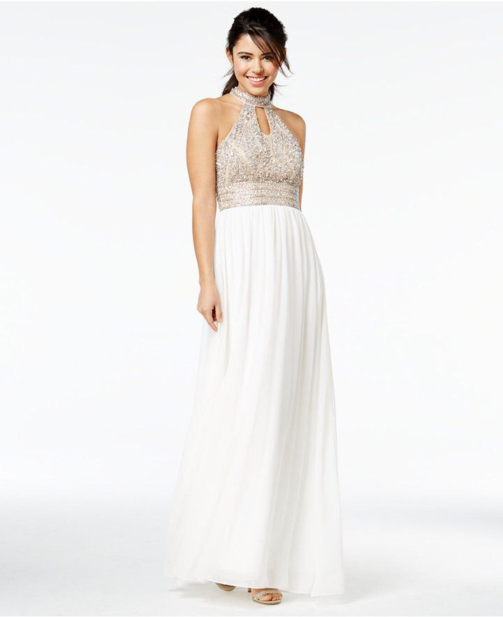 Say Yes to the Prom Juniors\' Embellished Halter Gown, A Macy\'s ...