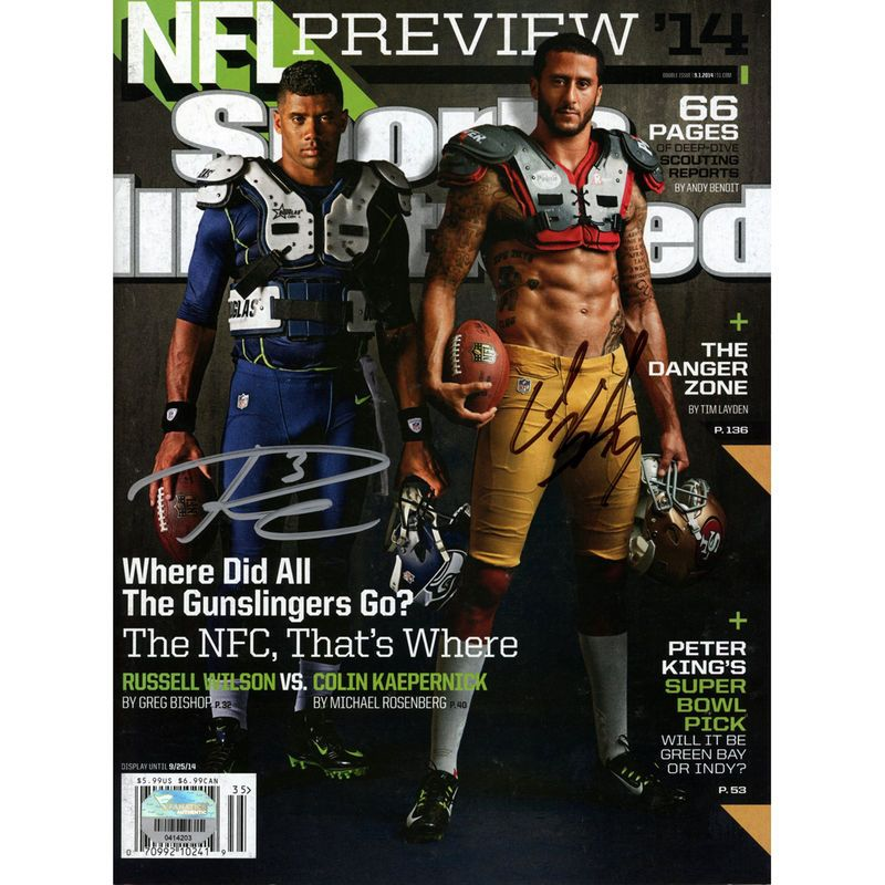Russell Wilson, Colin Kaepernick Seattle Seahawks/San Francisco 49ers Fanatics Authentic Autographed NFL Preview '14 Sports Illustrated Magazine