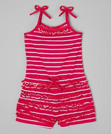 Look what I found on #zulily! Fuchsia Stripe Ruffle Romper - Toddler & Girls #zulilyfinds
