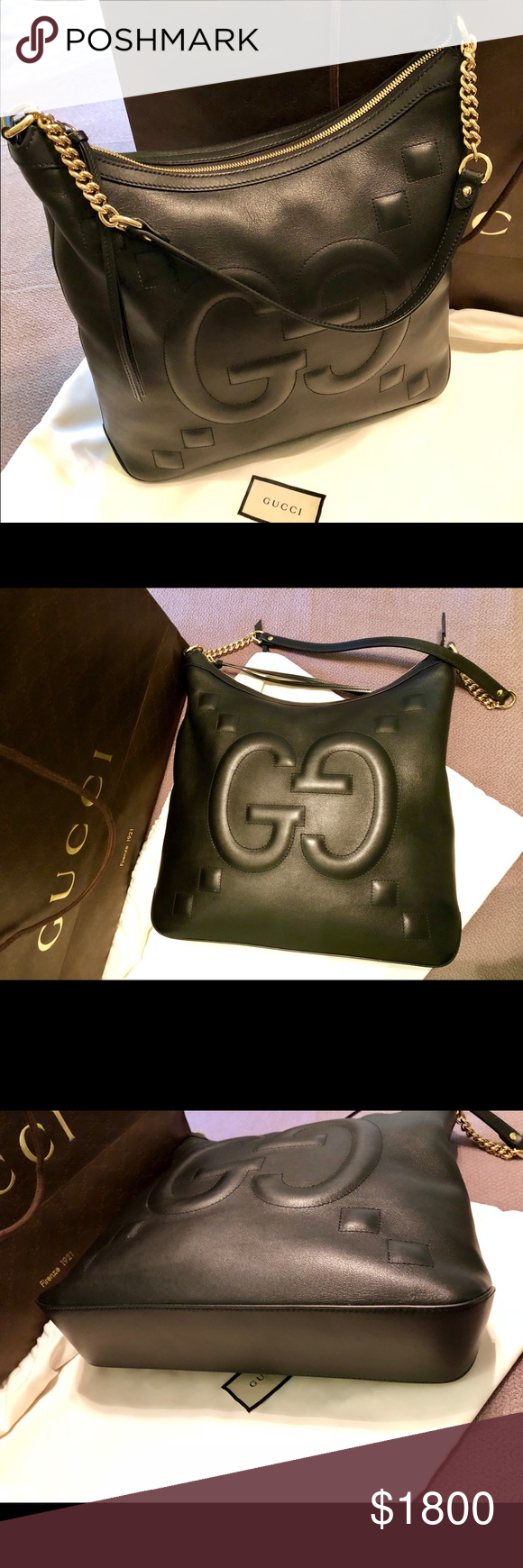 bc31bc669 NWT GUCCI Apollo Embossed GG Calfskin Black Hobo This bag features gold  chain link shoulder straps