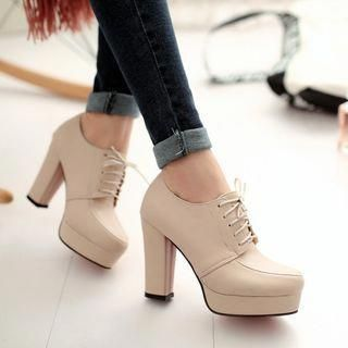 b7a8f142b65 Buy Shoes Galore Lace-Up Platform Pumps at YesStyle.com! Quality products at