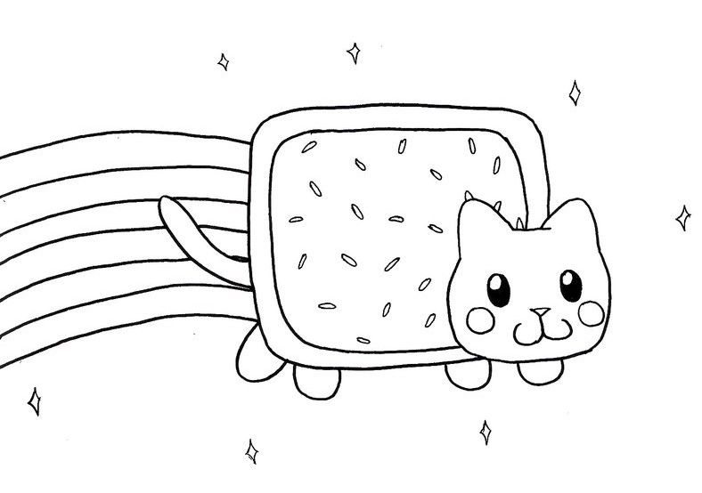 Cat Coloring Pages Cat Coloring Page Nyan Cat Kitten Drawing