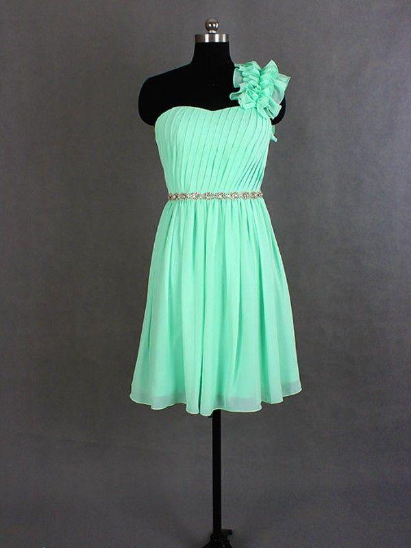 Bridesmaid Dress,Bridesmaid Dresses,Mint Green Bridesmaid Dress,One Shoulder Bridesmaid Dress,Short Bridesmaid Dresses,Chiffon Bridesmaid Dresses,Sexy Bridesmaid Dresses