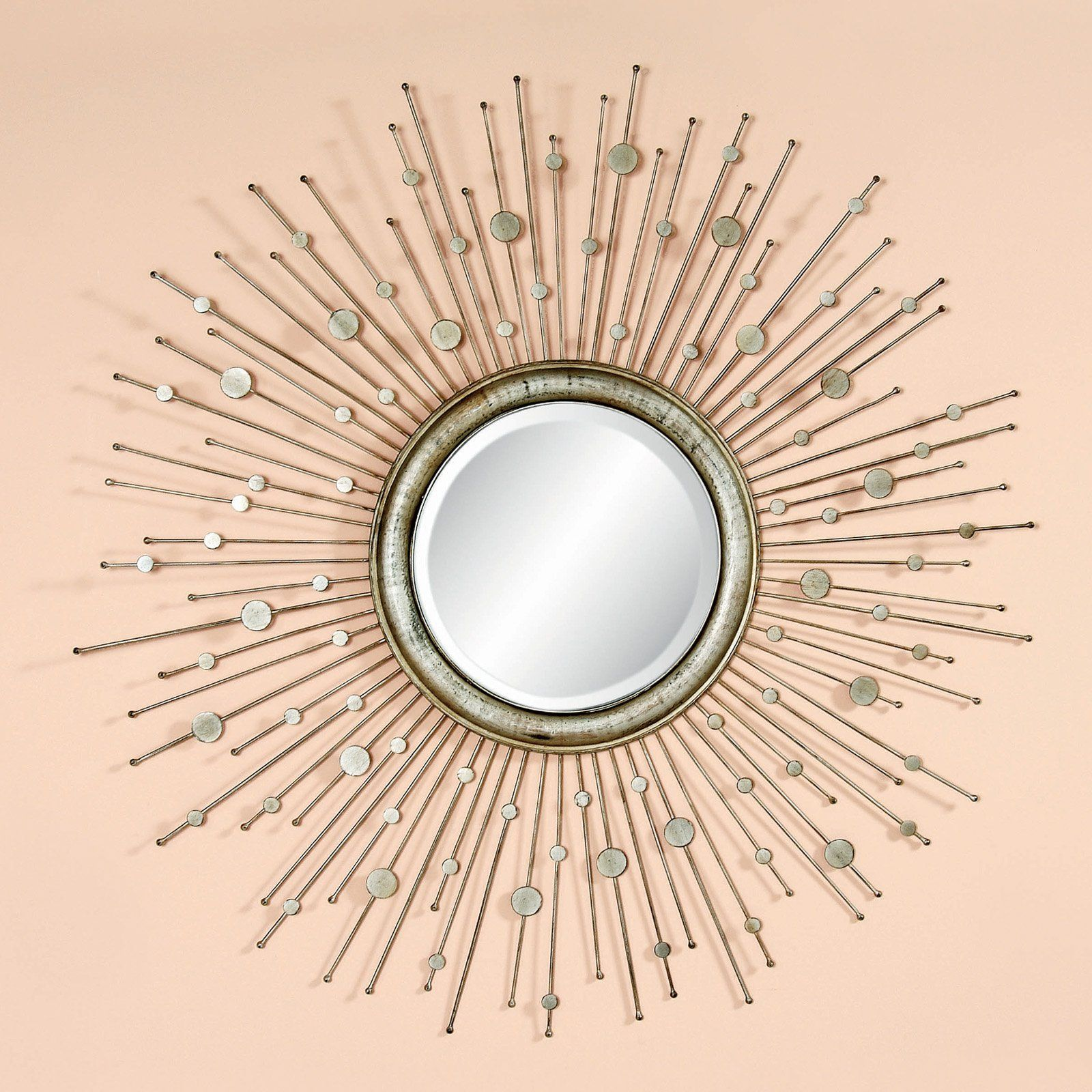 Antique Silver Starburst Decorative Mirror