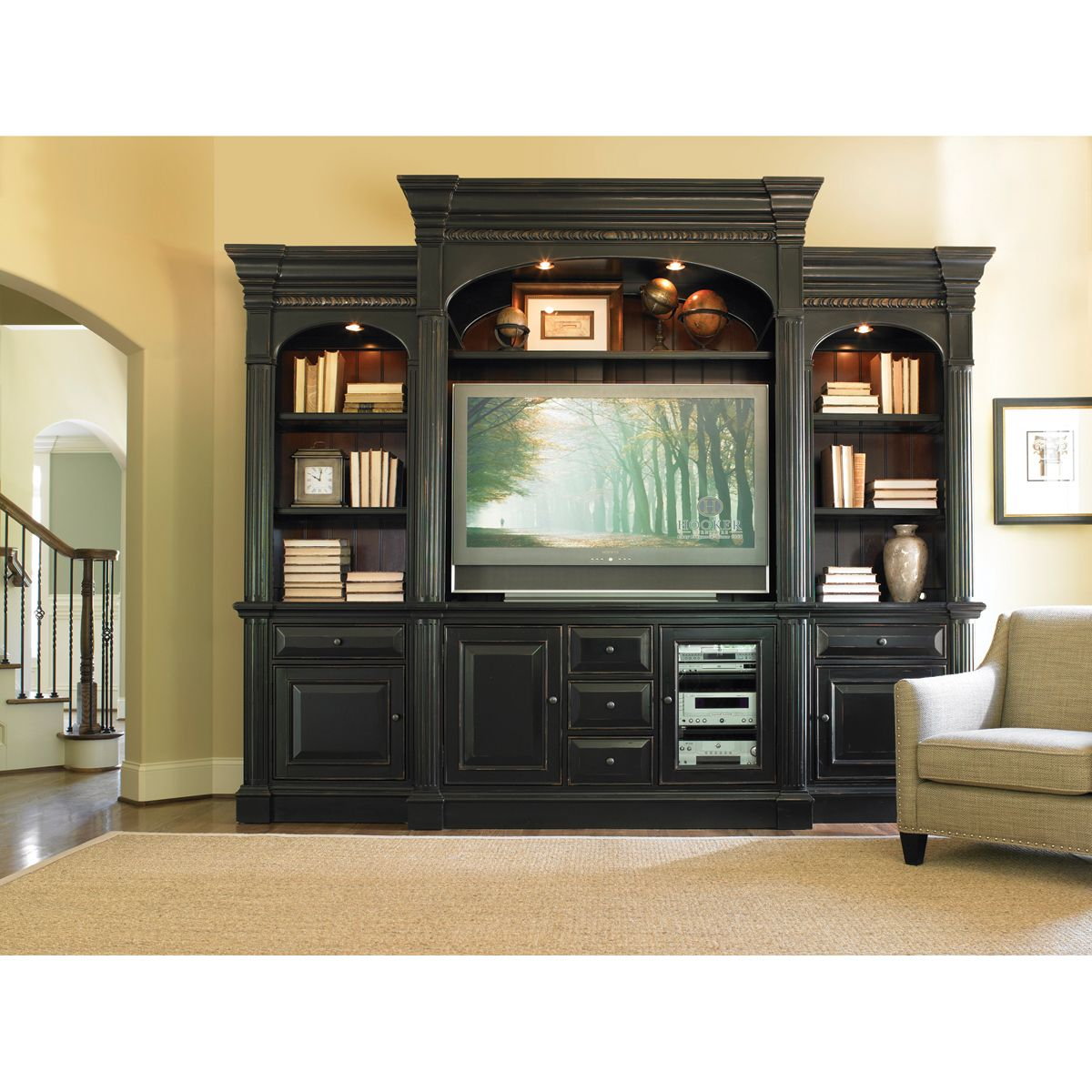4 piece entertainment wall unit for the home entertainment center entertainment wall units. Black Bedroom Furniture Sets. Home Design Ideas