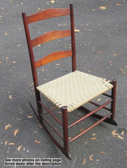 Tremendous Antique Shaker Signed 3 Cherry Ladderback Rocker W Taped Spiritservingveterans Wood Chair Design Ideas Spiritservingveteransorg