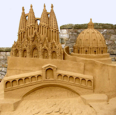 La Sagrada Familia Basilica This incredible replica of Antoni Gaudí's still unfinished Sagrada Familia was built at the annual sand sculpture festival in Weston-super-Mare, in Great Britain. This seaside resort is one of few places in the world that has near-perfect sand conditions for sculpting. Judging by this extraordinary miniature of Barcelona's biggest tourist attraction, conditions were primo.
