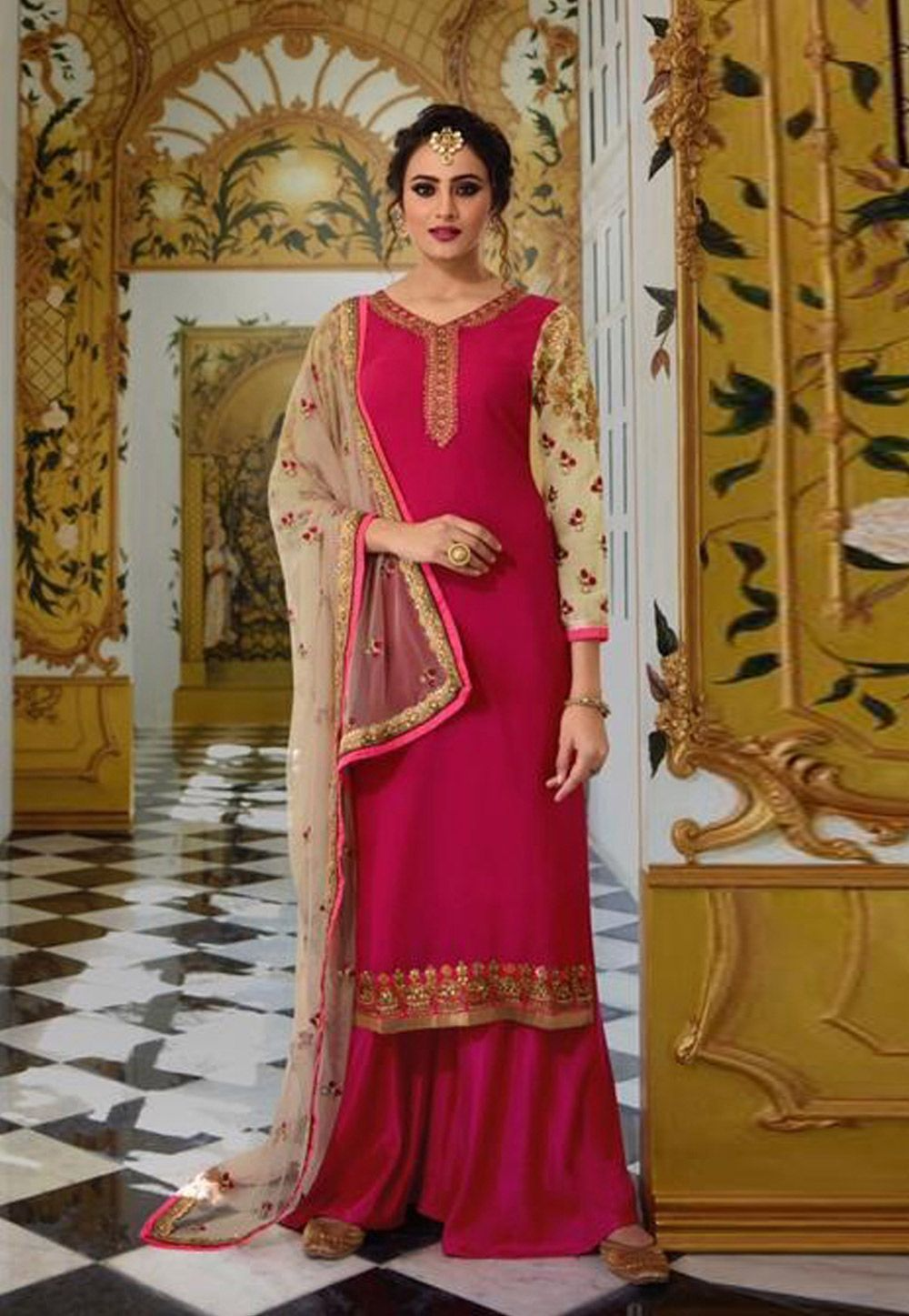 1ce802cf7 Buy Magenta Georgette Palazzo Suit 160678 online at lowest price from huge  collection of salwar kameez at Indianclothstore.com.