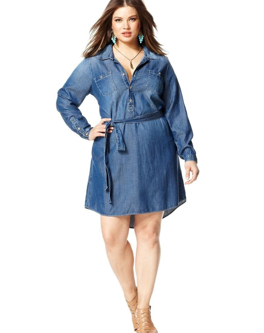 jean shirt dress plus size - http://pluslook.eu/wedding/jean-shirt