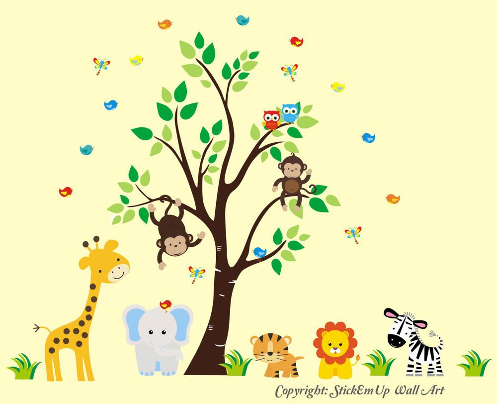 Nursery Wall Decals - Wall Decals Nursery - Safari Animal Wall ...