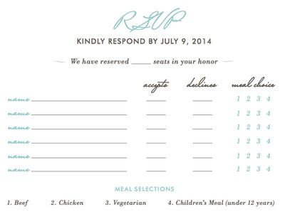 requesting rsvp advice multiple guests of a single household