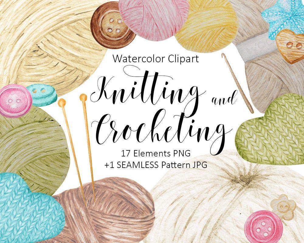 Watercolor Clip Art Hobby Knitting And Crocheting Wool Yarn Etsy In 2020 Clip Art Watercolor Clipart Digital Clip Art