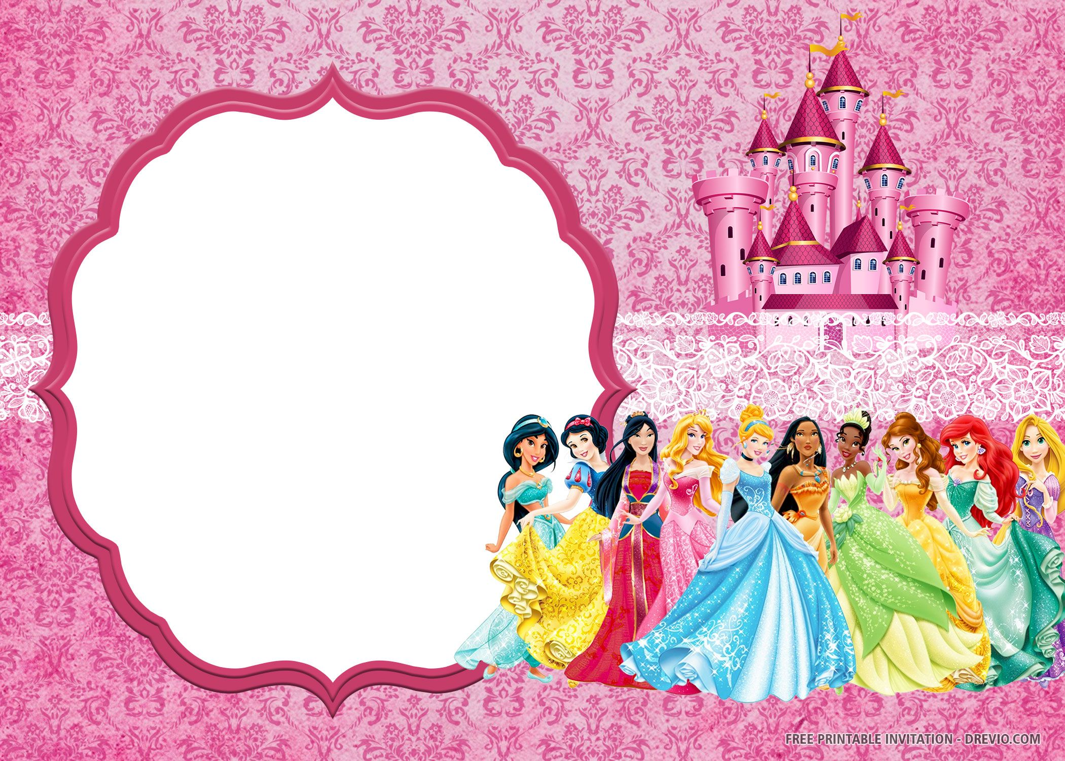 Free Printable Disney Princess Invitation Templates Disney Princess Invitations Disney Princess Party Decorations Princess Invitations