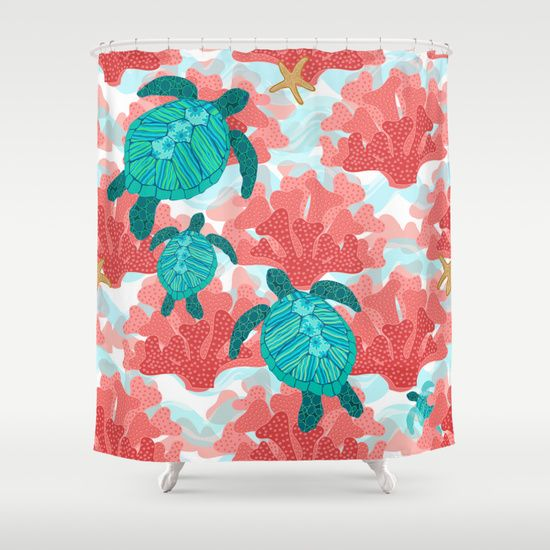 Sea Turtles In The Coral Ocean Beach Marine Shower Curtain With