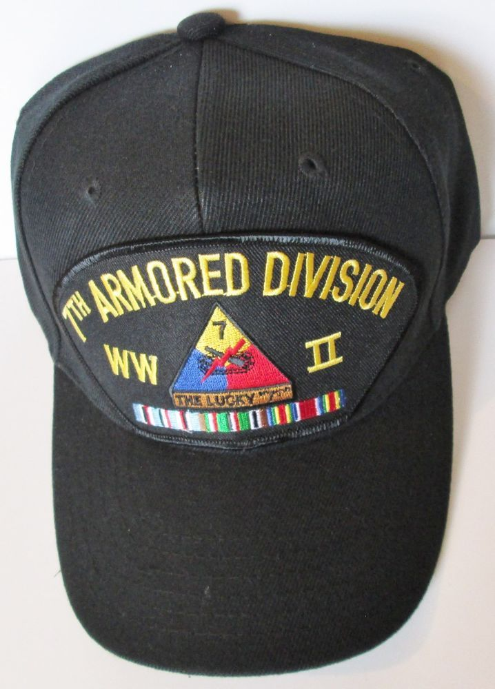 7TH ARMORED DIVISION  WORLD WAR II  W/ CAMPAIGN RIBBON BALL CAP/HAT #MILPRO #BallCap
