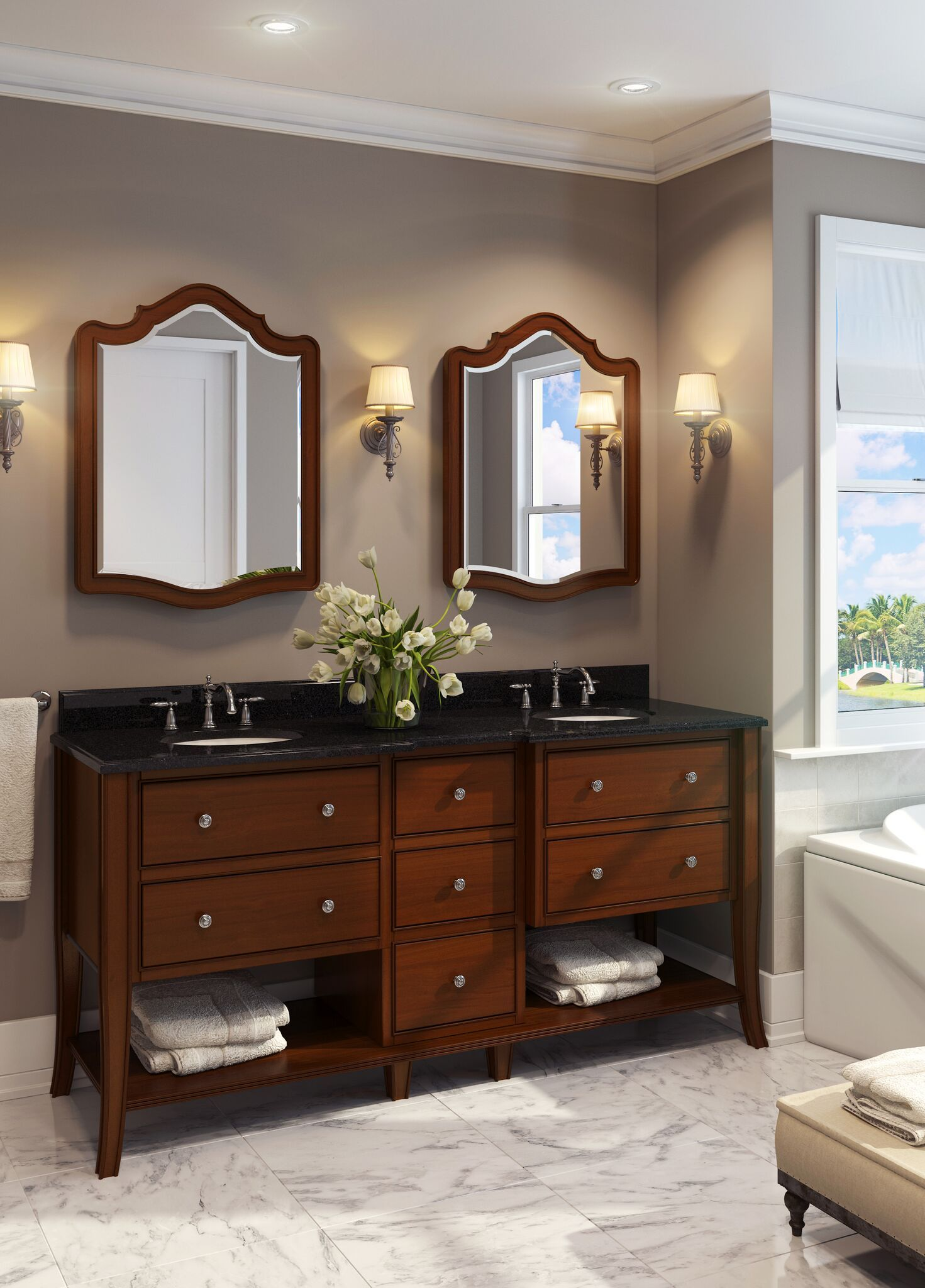 Awesome Websites Philadelphia Refined double vanity with rich chocolate brown finish and cabriole legs with