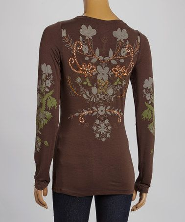 Look what I found on #zulily! Brown Floral Long-Sleeve Tee - Women by Gretty Zueger #zulilyfinds