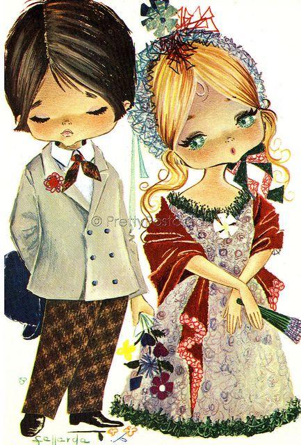 Gallarda Vintage Postcard, Old Fashioned Big Eyed Girl and Boy, via Flickr.