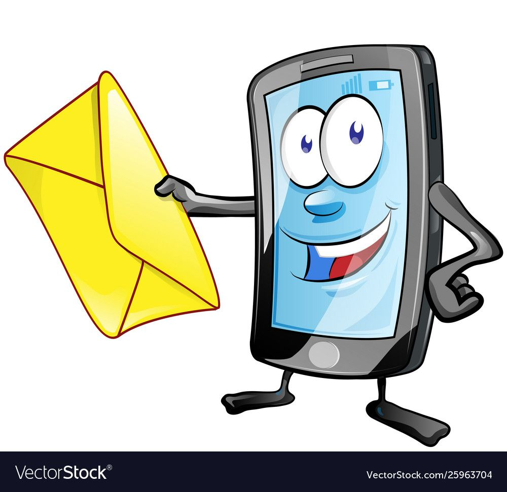 Smartphone cartoon character with envelope clip vector ...