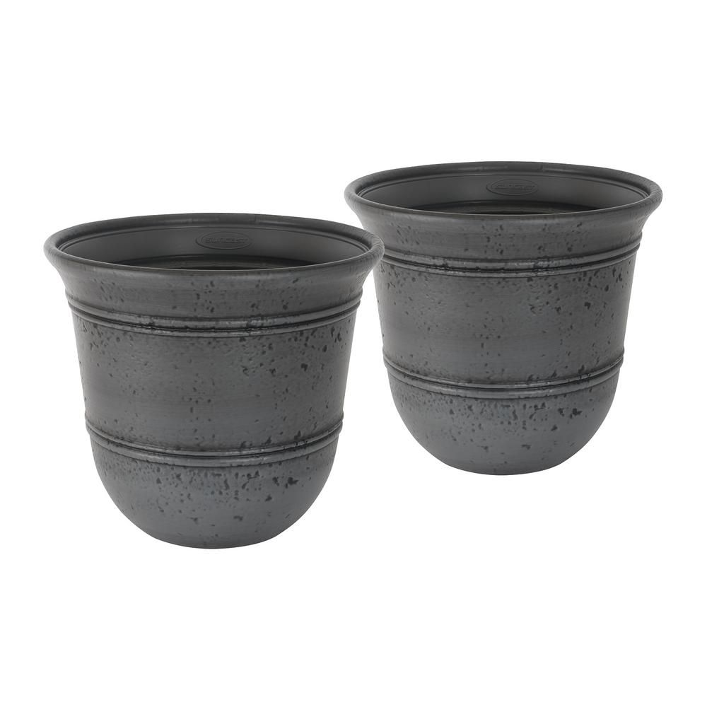 Suncast Stoneycreek 16 In Dia Resin Planter 2 Pack Grey