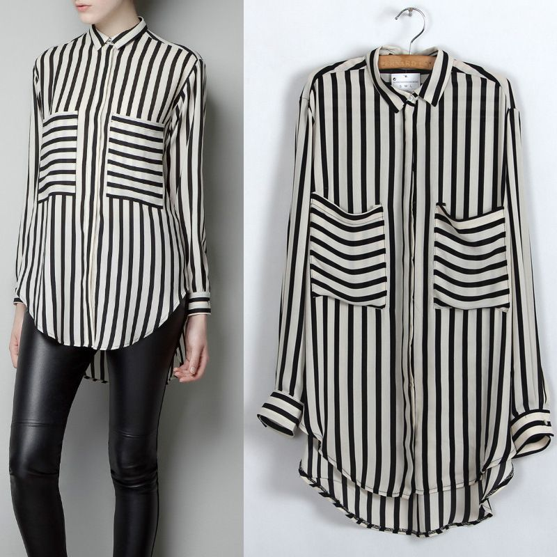 1e6f0ef4be Black White Vertical Stripe Long Sleeve Shirt Chiffon..This look is  stunning! HOT RED LIPS WITH IT