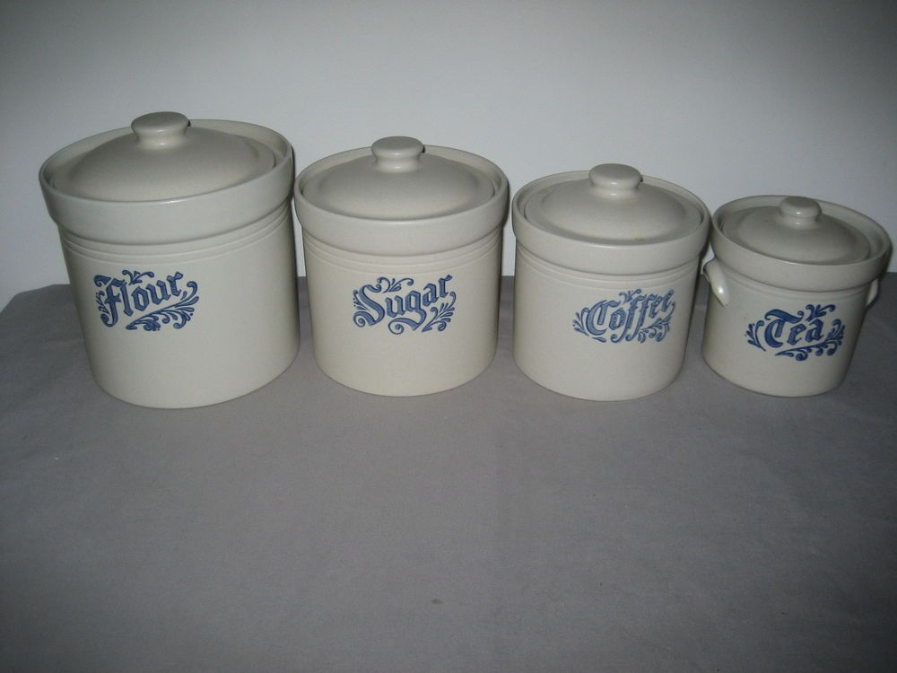 Pfaltzgraff Yorktowne 4pc Canister Set Flour Sugar Coffee Tea