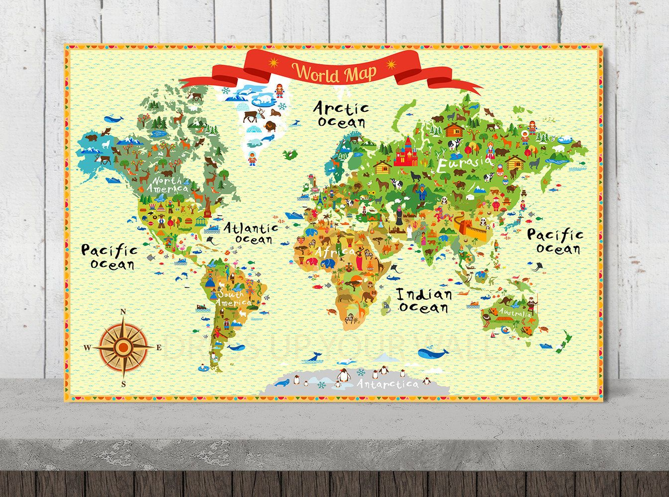 Children World Map Illustrated Map Print on Canvas Wall Art for Kids ...