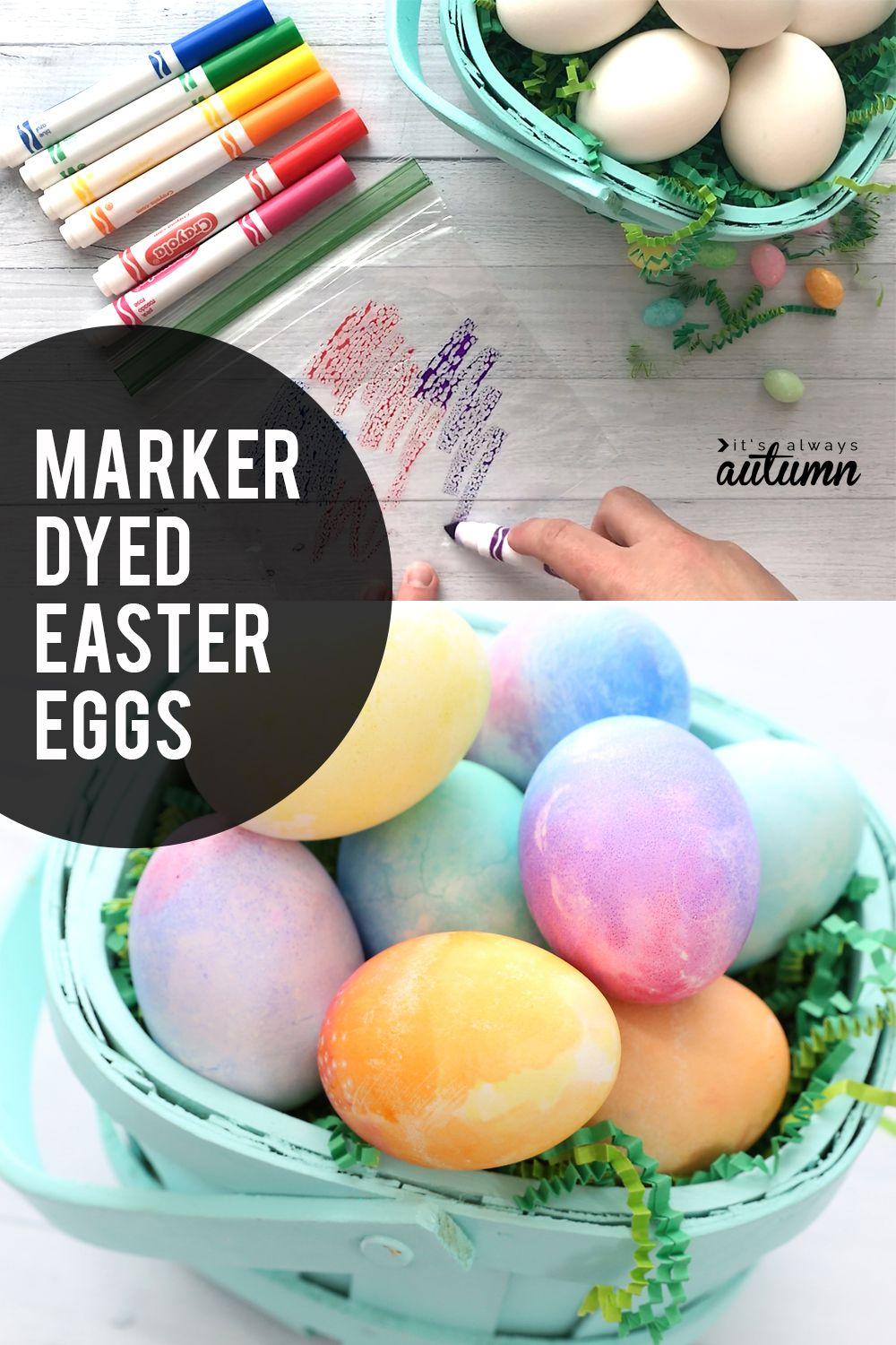 Super Easy Way To Color Easter Eggs With Markers Instead Of Dye It S Always Autumn Easter Egg Dye Coloring Easter Eggs Easter Eggs