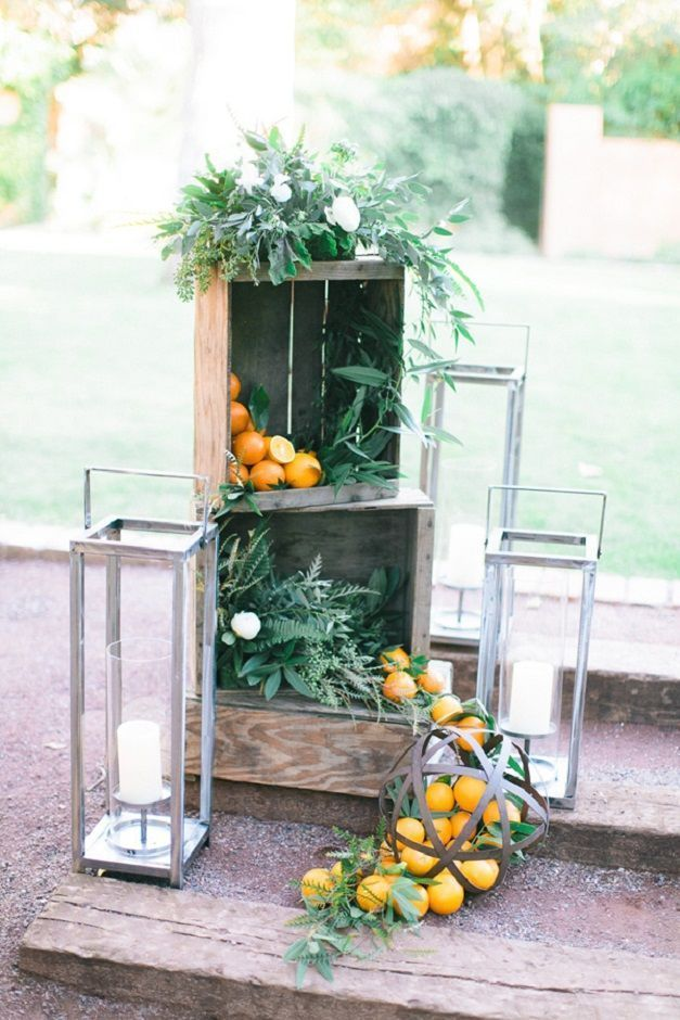 Citrus outdoor wedding ceremony decoration ideas for ...