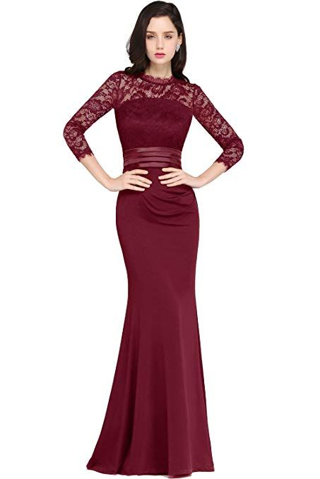 MisShow Womens Sheer 3 4 Sleeves Lace Mermaid Prom Dress with Sash Formal  Burgundy ea59d7926da8