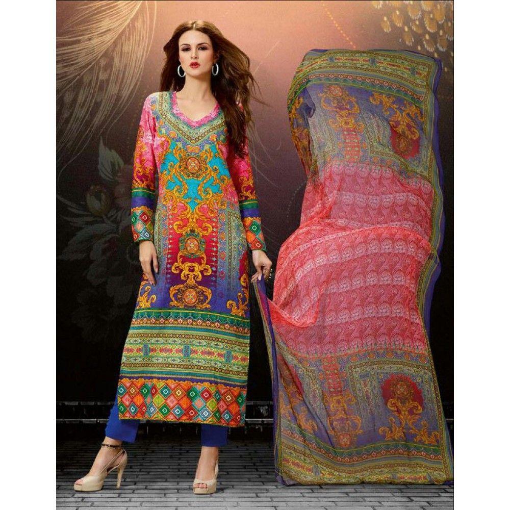 MultiColored Cotton Bridal #Churidar Kameez With Dupatta- $36.17