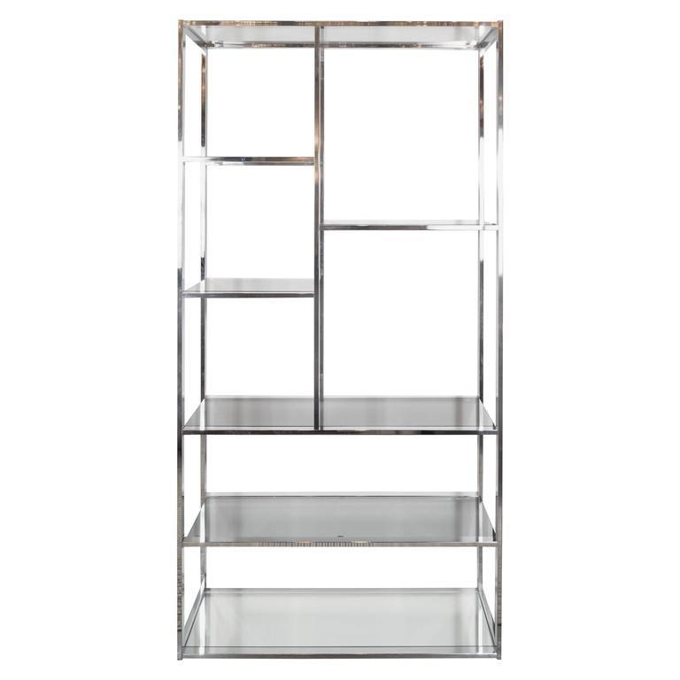 Fantastic Mid Century Chrome Smoked Glass Mirror Etagere Book Home Remodeling Inspirations Basidirectenergyitoicom