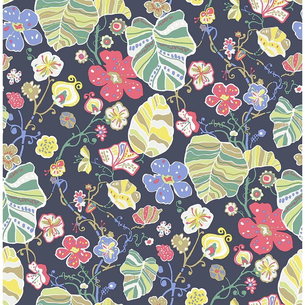 A Street 8 In X 10 In Gwyneth Navy Floral Wallpaper Sample Blue
