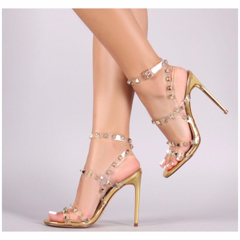 fcf74984235 Liliana LEETA-3 Gold Mirror Metallic Snakeskin Clear Strap Stiletto Heel  Studs