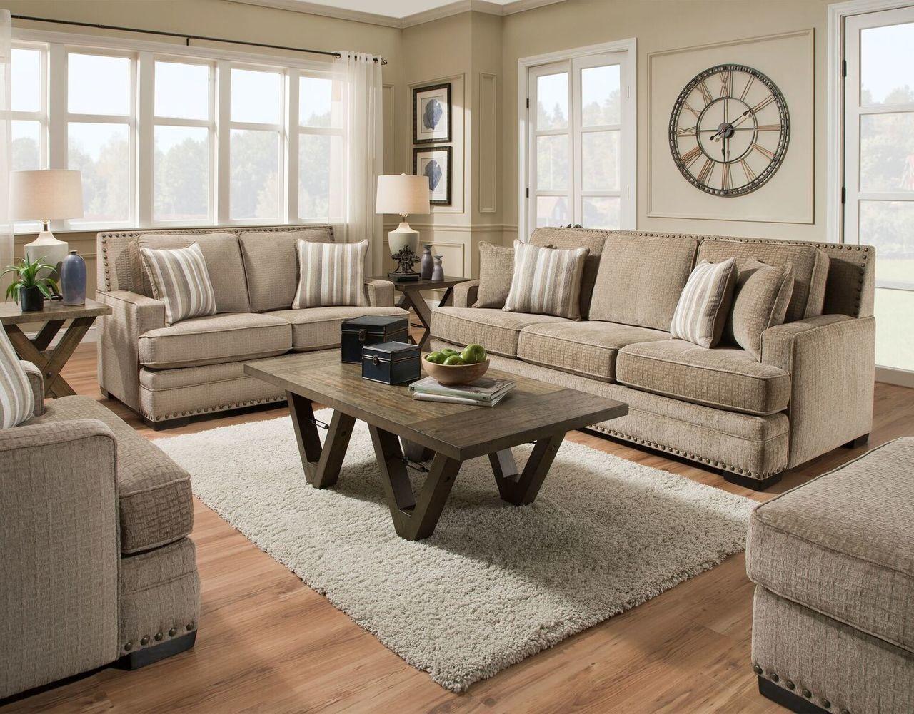 Living Room Sofa And Loveseat Sets Italian Furniture Design Albany Ultimate Mushroom Set 488 Savvy Discount