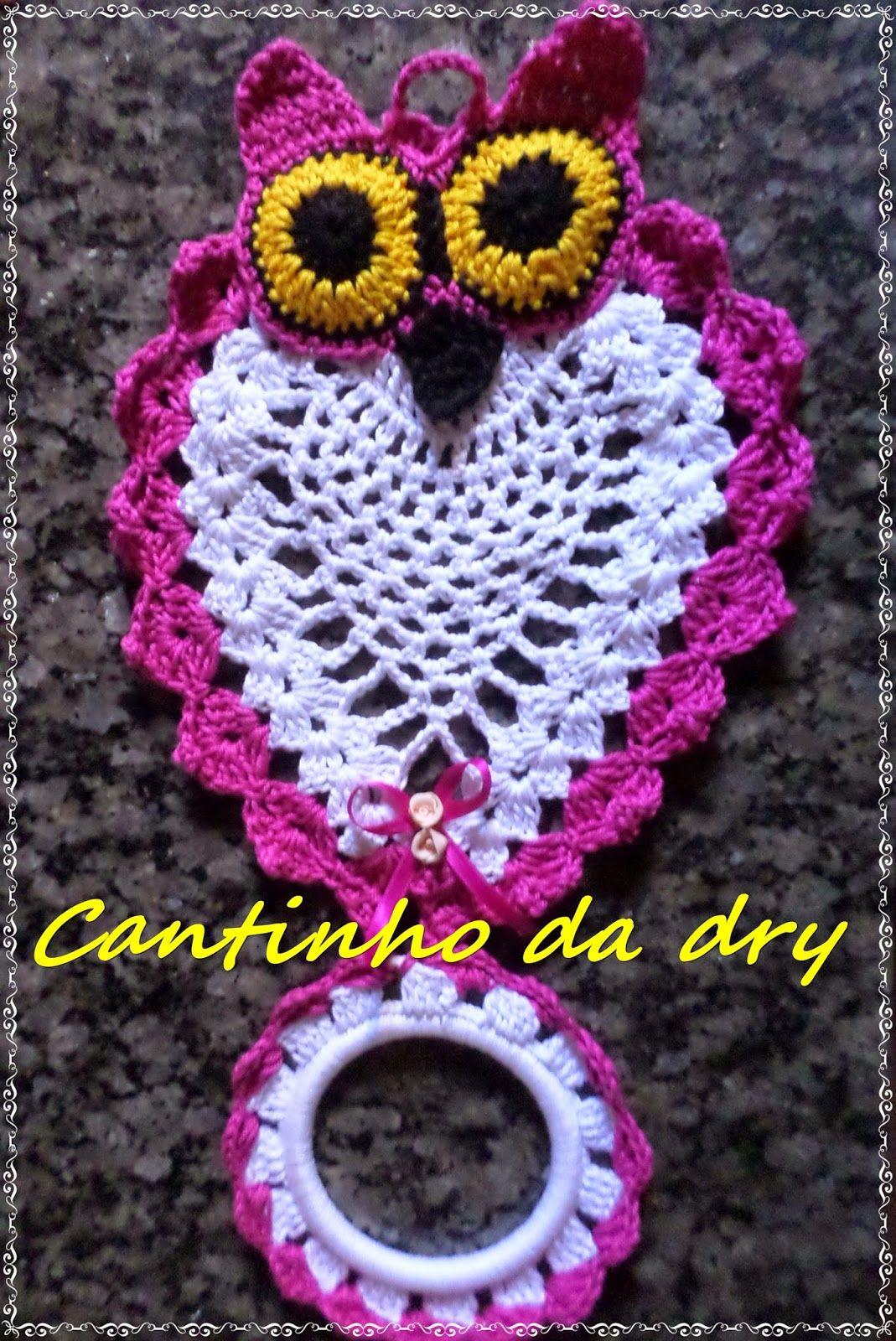 Croches da dry: PORTA PANO DE PRATO CORUJA CROCHE …   croche  …