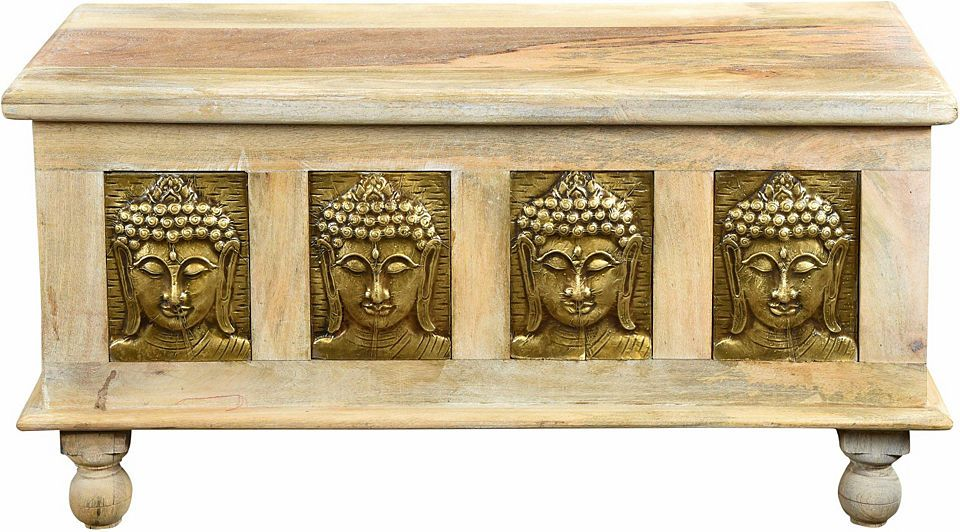 THE WOOD TIMES Truhen-Couchtisch «Buddha», Breite 120 cm Jetzt - wohnzimmer ideen buddha