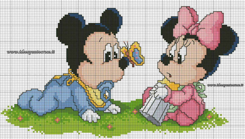 Schema Punto Croce Baby Minnie E Topolino Disney Minnie Micky Usw